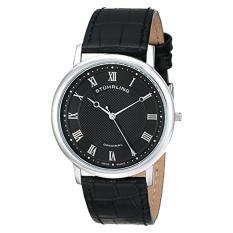 Stuhrling Original Men's 645.03 Classique Swiss Quartz Ultra Slim Black Leather Watch (Intl)