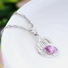 Stylish Swan Shape 925 Pure Silver Pendant Crystal Necklace Neck Decor Jewelry (Purple)