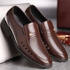 Summer New Men's Business Casual Leather Shoes (Brown) - Intl