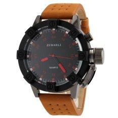 Sunshine JUBAOLI 1031 Mens Arabic Numbers Design 24 Hour Analog Display Qaurtz Wrist Watch With Hole Style PU Leather Band - Black + Red (Intl)
