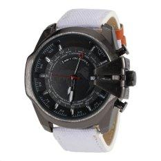 Sunshine JUBAOLI 1049 Mens World Map Pattern 24 Hour Analog Display Qaurtz Canvas & PU Leather Sports Wrist Watch With Date Function - White (Intl)