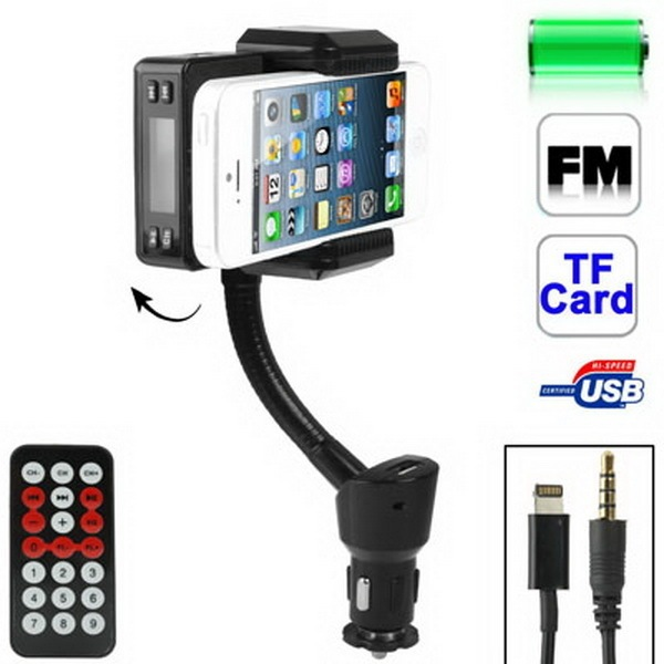 SUNSKY 2 in 1 FM Transmitter + Car Charger for iPhone 5 / iPod touch 5 / 6 / 4S / MP3 / Other Mobile Phone, Support TF Card 180 Degree Rotation (Black) (Intl)