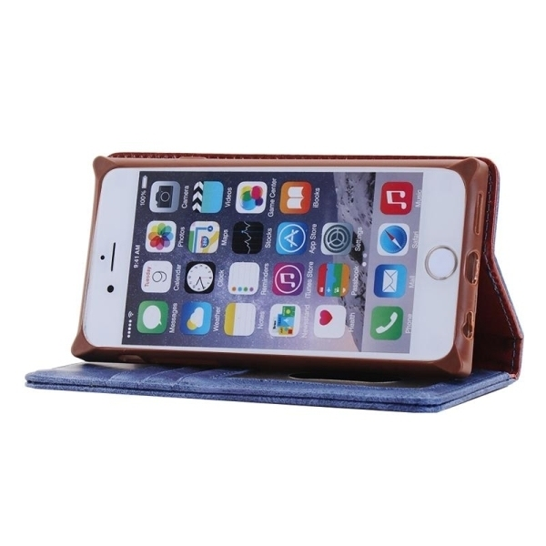 SUNSKY Denim Texture Magnetic Horizontal Flip Leather Cover for iPhone 6 6s(Blue) (Intl)