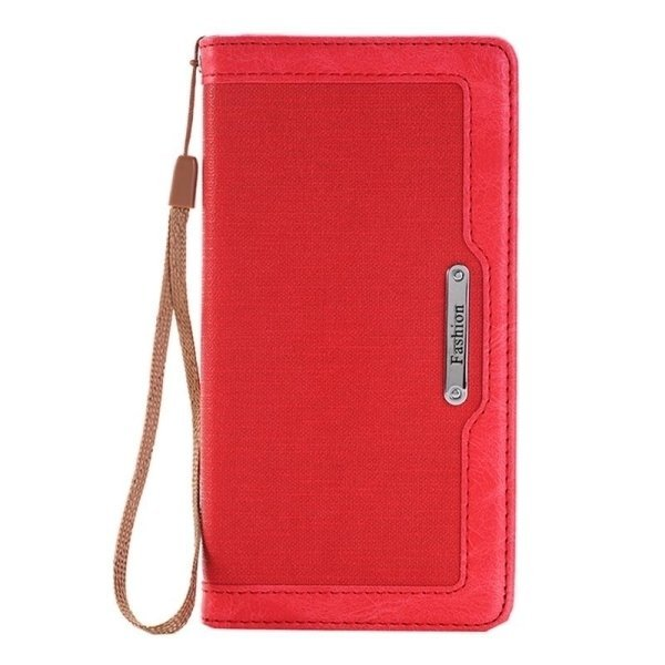 SUNSKY Denim Texture Magnetic Horizontal Flip Leather Cover for iPhone 6 6s(Red) (Intl)