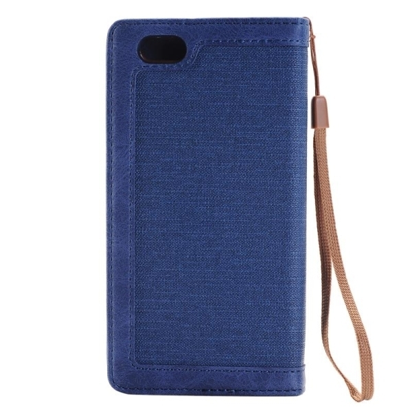 SUNSKY Denim Texture Magnetic Horizontal Flip Leather Cover for iPhone 6 Plus 6s Plus(Blue) (Intl)