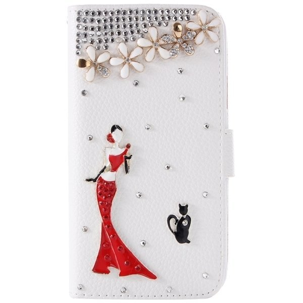 SUNSKY Diamond Encrusted Pattern Horizontal Flip Leather Cover with Holder Card Slots for Samsung Galaxy A3 (White) (Intl)