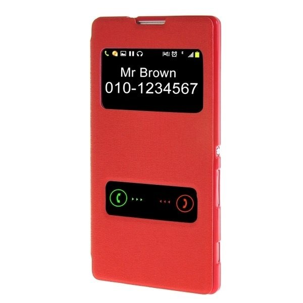 SUNSKY Flip Leather Cover for Sony Xperia C3 (Red) (Intl)