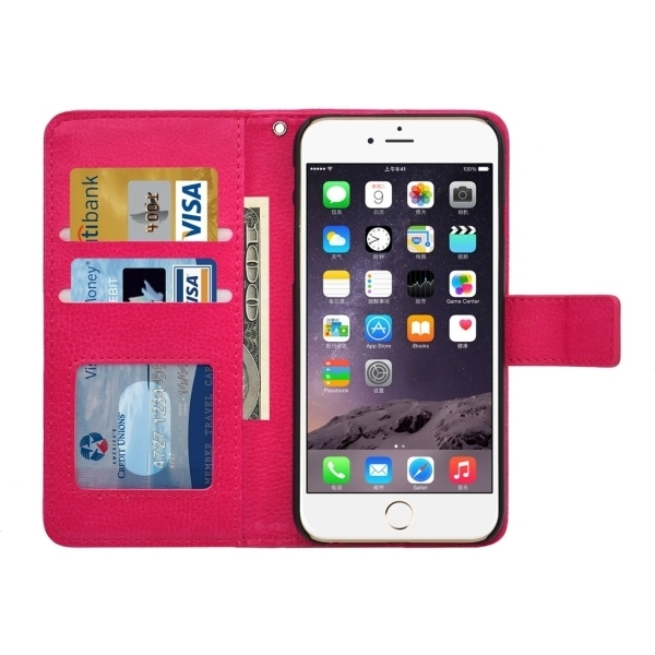 SUNSKY Flip PU Leather PC Cover for iPhone 6/6S (Magenta) (Intl)