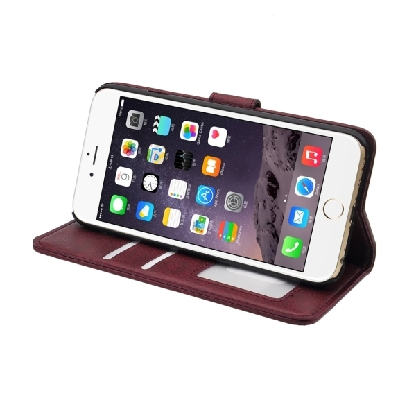 SUNSKY Flip PU Leather PC Cover for iPhone 6/6S (Maroon) (Intl)