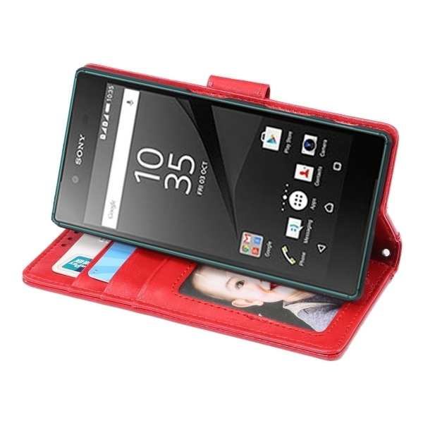 SUNSKY Flip PU Leather PC Cover with Wallet Card Slots Holder for Sony Xperia Z5 (Red) (Intl)