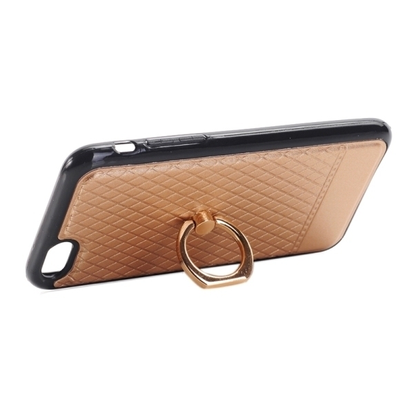 SUNSKY Grid Texture PU Paste Skin TPU Protective Back Case with Ring Holder for iPhone 6/6s (Gold) (Intl)