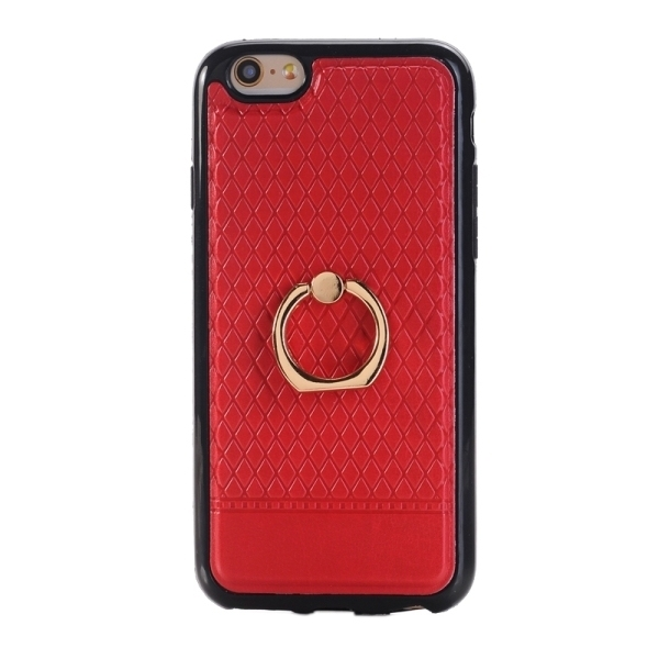 SUNSKY Grid Texture PU Paste Skin TPU Protective Back Case with Ring Holder for iPhone 6/6s (Red) (Intl)