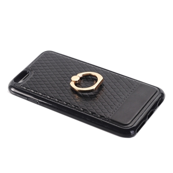 SUNSKY Grid Texture PU Paste Skin TPU Protective Back Case with Ring Holder for iPhone 6 Plus/6s Plus (Black) (Intl)