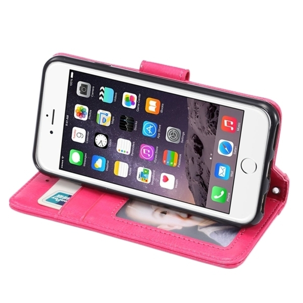 SUNSKY PU Leather Plastic Cover for iPhone 6/6S (Magenta) (Intl)