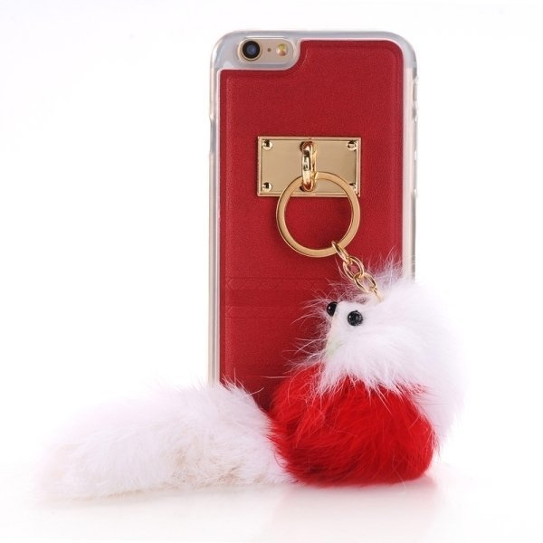SUNSKY PU Paste Skin TPU Protective Back Case with Fox Pendant for iPhone 6/6s (Red) (Intl)