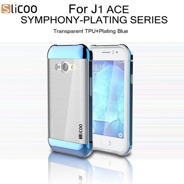 SUNSKY Slicoo Brushed Texture Electroplating Transparenct TPU + PC Combination Case for Samsung Galaxy J1 Ace / J110 (Blue) (Intl)