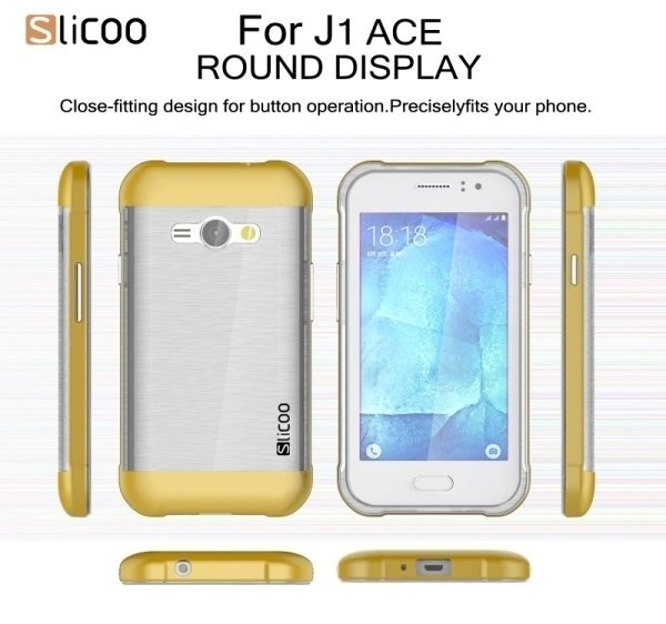 SUNSKY Slicoo Brushed Texture Electroplating Transparenct TPU + PC Combination Case for Samsung Galaxy J1 Ace / J110 (Gold) (Intl)