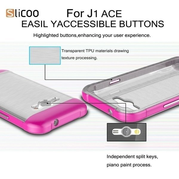 SUNSKY Slicoo Brushed Texture Electroplating Transparenct TPU + PC Combination Case for Samsung Galaxy J1 Ace / J110 (Purple) (Intl)