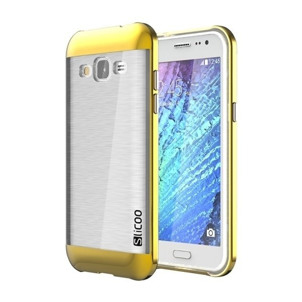 SUNSKY Slicoo Brushed Texture Electroplating Transparenct TPU + PC Combination Case for Samsung Galaxy J2 / J200 (Gold) (Intl)