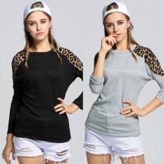 Sunweb Sunweb 3 Colors Cotton Leopard Grain Decoration Round Brought Long Sleeve T-shirt (White)