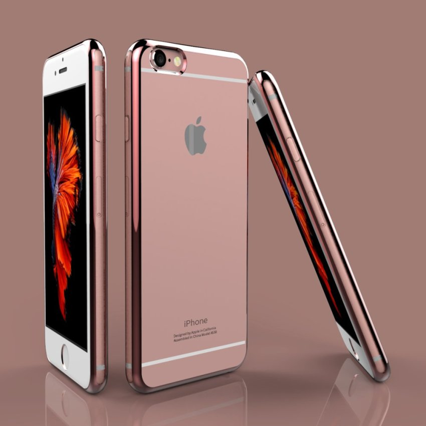 Super Thin Shockproof Sillicone TPU Metal Soft Case Cover for Apple iPhone 6 6S RoseGold (Intl)