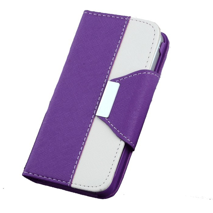 Supercart PU Leather Wallet Flip Cover with Card Slot for Apple iPhone5 5G 5S (Purple) (Intl)