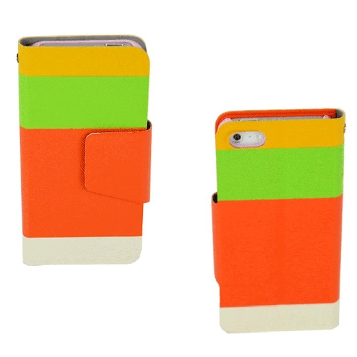 Supercart Synthetic Leather Wallet Flip Stand Cover for Apple iPhone 5 5G (Multicolor) (Intl)