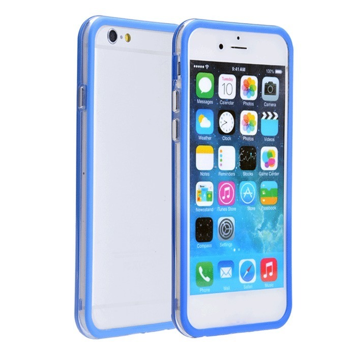 Supercart TPU Silicone Transparent Clear Protective Border Frame Case for Apple iPhone 6 (Blue) (Intl)