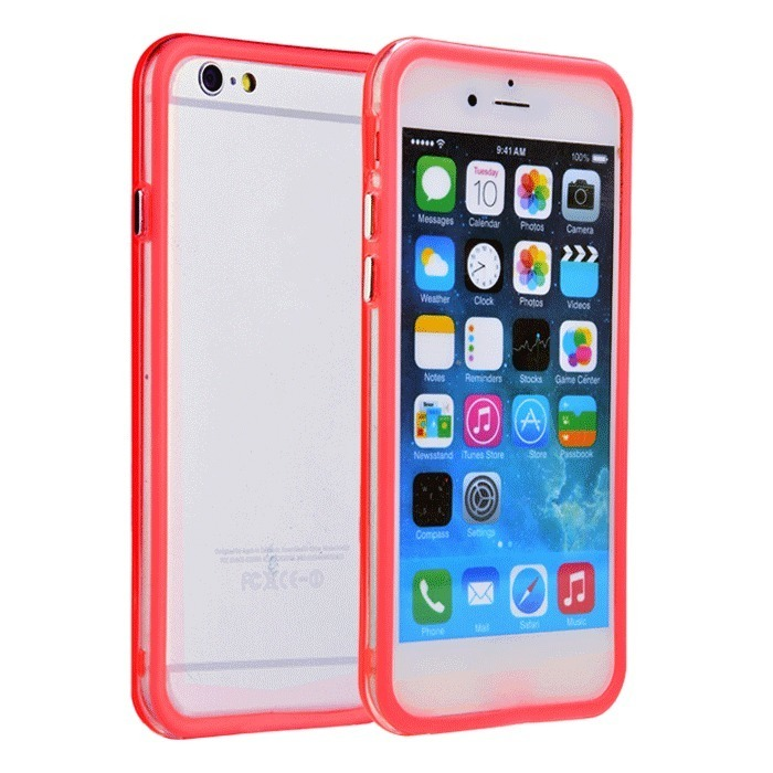Supercart TPU Silicone Transparent Clear Protective Border Frame Case for Apple iPhone 6 (Red) (Intl)