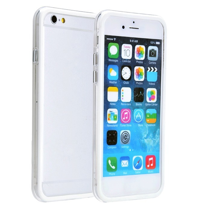 Supercart TPU Silicone Transparent Clear Protective Border Frame Case for Apple iPhone 6 (White) (Intl)