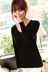 SuperCart Women's Fashion Solid Color Pullover Long Sleeve V-neck Knit T-shirt Black