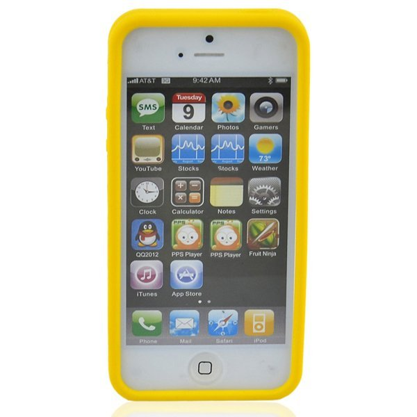 Supercart Yellow Blocks Pattern Soft Silicone Gel Case Protector for iPhone 5 (Yellow) (Intl)