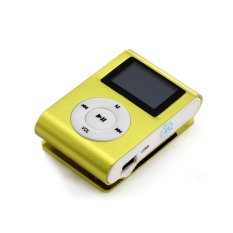 Superior Mini USB Clip MP3 Player LCD Screen Support 32GB Micro SD TF Card (Not Included) (Yellow) (Intl)