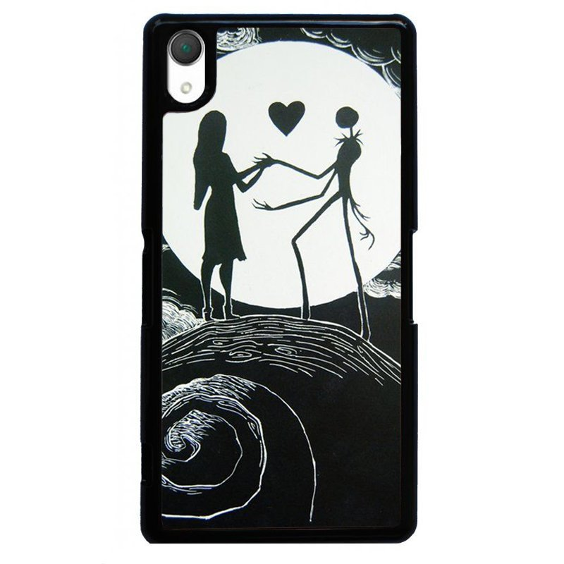 Sweet Lover On Moon Printed Phone Case for SONY Xperia Z3 (Black)