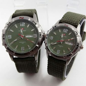 Swiss Army Couple - Jam Tangan Couple - Strap Canvas - SA 1493 Green Couple