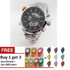 Swiss Army Dual Time - Jam Tangan Sport Pria - Stainless Steel - SA 1615 Orange + Bonus Jam Q&Q Sport & Jam Geneva