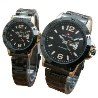 Jual Swiss Army - Jam Tangan Couple - Stainless Steel - SA 1241 Black Gold -