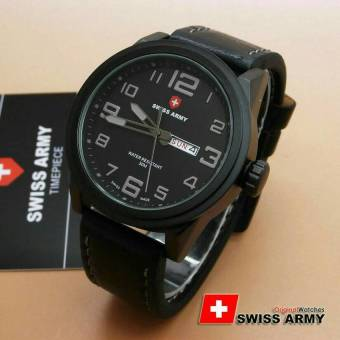 Swiss Army Jam Tangan Pria - Leather Strap - Sa 6401 Hitam