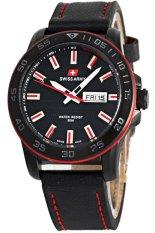 Swiss Army Jam Tangan Sport Pria - Hitam Merah - Tali Kulit - 2705