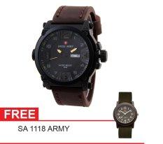 Swiss Army Mens Elegant - Cokelat - Stainless / Kulit - SA 7169 BL DA BRW + Gratis Swiss Army SA 1118