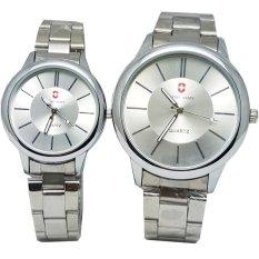 Swiss Army SA 8111 Jam Tangan Couple - Strap Stainless Steel - Silver Putih