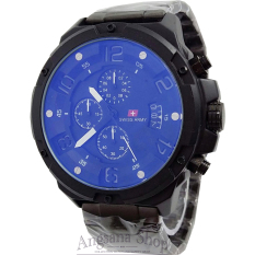 Swiss Army Sa1359 - Jam Tangan Formal Pria - Fiture Chronograph Exclusive -Date Vertical- Stainless (Black White)