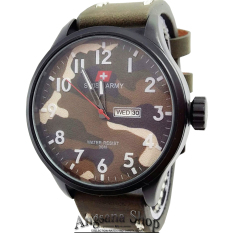 Swiss Army Sa5157 - Jam Tangan Kasual Pria - Army Fashion - Analog Date Day - Leather (Coklat Tua)