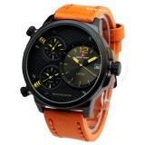 Swiss Army - SA6716M - Jam Tangan Pria - Kulit - Coklat Muda List Kuning