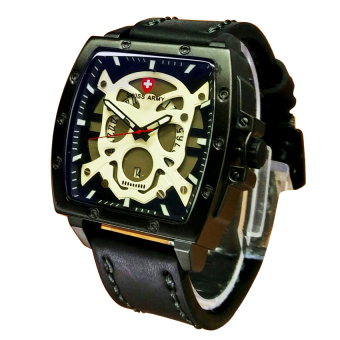 Swiss Army Skull Series- Jam Tangan Pria - Leather Strap - SA1406 WlBL