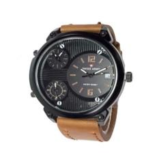 Swiss Army Triple Time - Jam Tangan Pria- Leather Strap-Sa 1570 - Light Brown