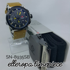 Swiss Navy 8935 Silver All Black Strap Yellow - Jam Tangan Pria Chrono SN-8935SAB