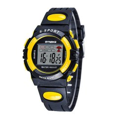 SYNOKE Multifunctional Digital Water Resistant LED Wristwatch Children Student Watch Black And Yellow (Intl)