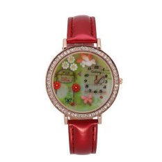 Synthetic Leather Strap Quartz Watch Polymer Clay Rhinestones Dove Pattern Decor For Women (Red)