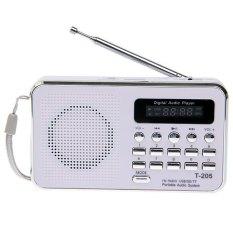 T-205 Portable HiFi Card Speaker Digital Multimedia Loudspeaker FM Radio -White (WHITE)